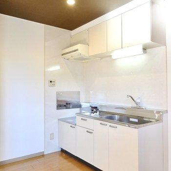 左には衝立のような壁があるので、あまり見せたくないキッチンツールなどはそちらに置くと良いかも。