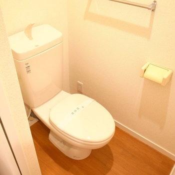 トイレも同じスペースにありますが、きちんとドアが設けられています。
