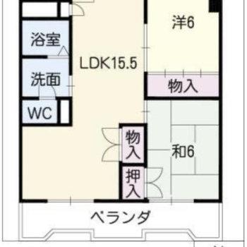 お部屋は2LDKのお部屋です。