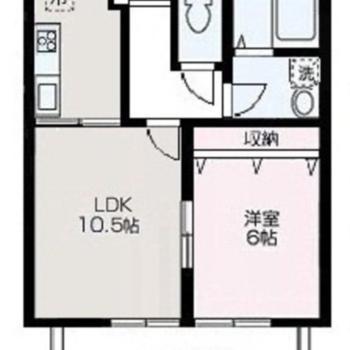 1LDKのキッチン、バルコニーが広めのお部屋です。