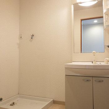 独立洗面台と洗濯機置き場は一緒の場所になります。