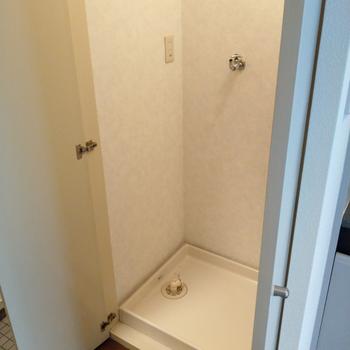 洗濯機置き場はキッチンと玄関の間に。扉で隠せるので生活感が出ません◎