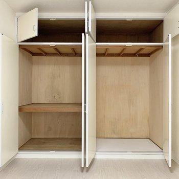 【洋室①】ハンガーパイプは付いてないので、収納ボックスを活用すると良いかも