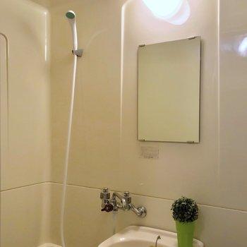 鏡もありました。シャンプーなどは洗面台に置いておくと便利です。(※写真の小物は見本です)