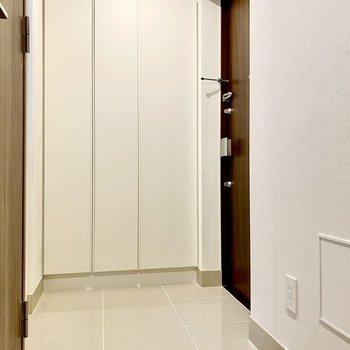 シンプルな玄関。正面と左に収納が2箇所あります。