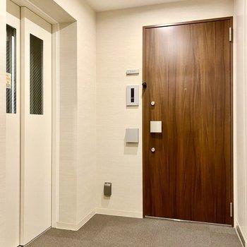 玄関前共用部。エレベーターが近くにありますね。