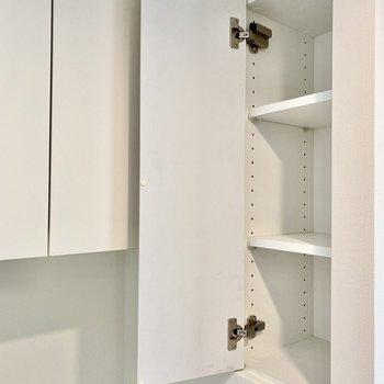 手前にもう一つ収納が。洗剤など入れておくと良いかも。※写真は3階の同間取り別部屋のものです