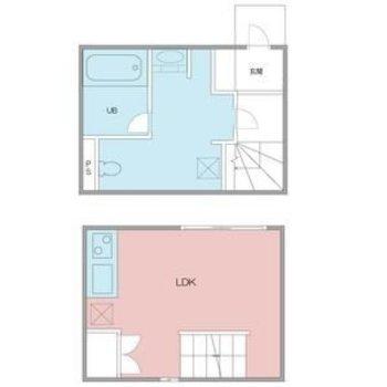 1階に水回り。2階に洋室です
