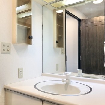 サニタリールームへ。朝の準備にも助かる独立洗面台が出迎えてくれます。