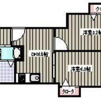 ダイニングは4.6帖、洋室は5.2帖と洋4.6帖。仲良し2人暮らしを楽しめます。