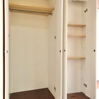 奥行きも棚の位置も違うので、使い分けができますね。