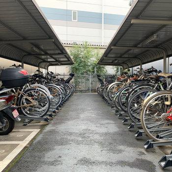 奥にバイク置き場や駐輪場があります。