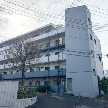 白く、大きなマンションです。