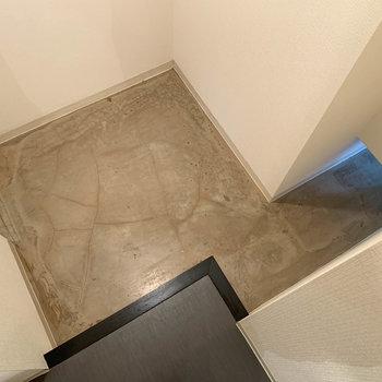 段差を一段降りて。左の穴はさっきのクローゼットと繋がっています。右の穴は玄関へ。