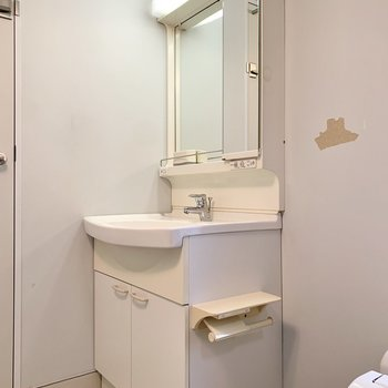ドアのすぐ側は洗面台。独立式なのは嬉しい。