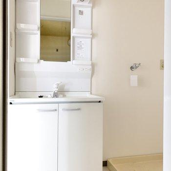 洗面台は大きめ。隣に洗濯機置場。