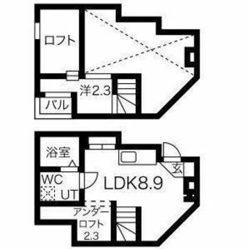 間取りは3層構造のひとり暮らし仕様。