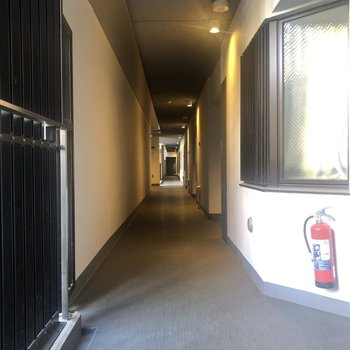 長い共用廊下。