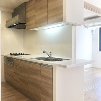 【LDK】キッチンも大きくて使いやすいシステムキッチンです。