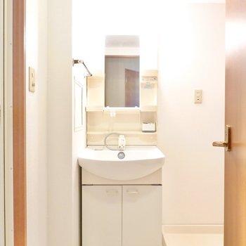 脱衣所の正面には棚付きの洗面台。 (※写真は9階の反転間取り別部屋のものです)
