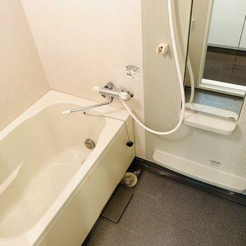 浴槽が広めのバスルーム。追い焚き付き。(※写真は2階の反転間取り別部屋のものです)