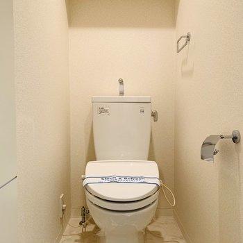 ペーパーホルダーとタオルホルダーの統一感が素敵なトイレ。(※写真は2階の反転間取り別部屋のものです)