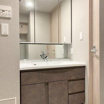 洗面台の鏡は大きめです。