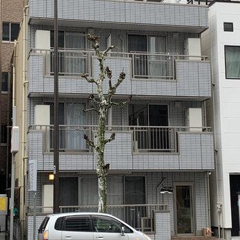 大通り沿いにある3階建の建物です