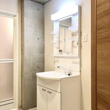 洗面台は歯ブラシなどを置けそうな部分が4つ。機能的だなぁ。
