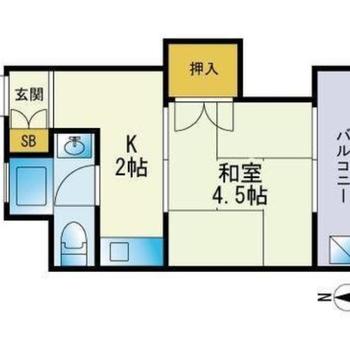 コンパクトな1K。お布団で眠りたい和室です。