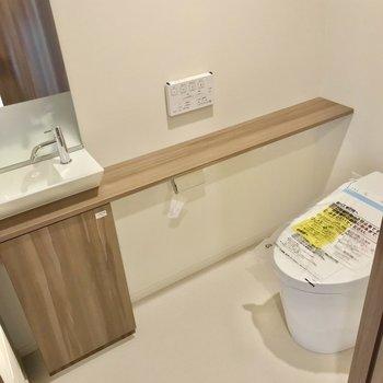トイレはウォシュレット付き。小さな手洗いも付いています。