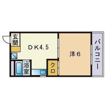 1人暮らし向けの1DKの間取りです。