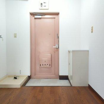 玄関は土間も広々。靴は1、2足出したままでもよさそう。