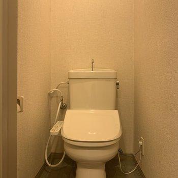 温水洗浄便座付きのトイレですよ。※写真は1階の同間取り別部屋のものです