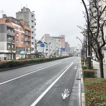 お部屋の前の川崎街道。車の走行音はそれほど気になりませんよ。