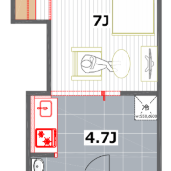 ゆるっと仕切られた1DKタイプのお部屋。寝食分けられるのがうれしいな。