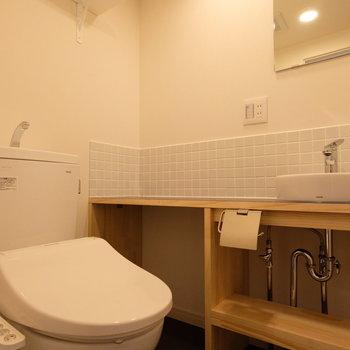 トイレはウォシュレット付きの新品。頭上には棚も付いています。