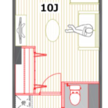 居室の広さは10帖。ゆとりのある一人暮らしにピッタリ。
