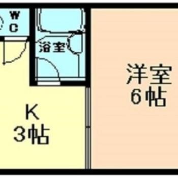 南向きの角部屋はひとり暮らしにぴったり! ※実際の間取りは反転しています。