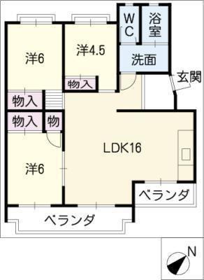 桃山住宅6号棟 103号室 の間取り