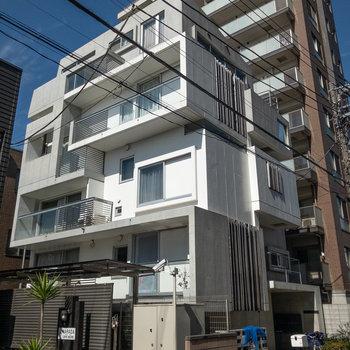 外観もデザイナーズらしいカタチをしています。周辺は閑静な住宅街です。