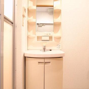 洗面台は収納がしっかりと。(※写真は1階の同間取り別部屋のものです)