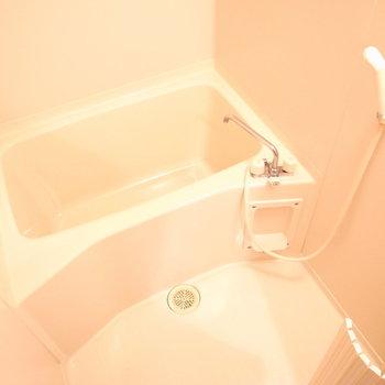 お風呂の広さは問題なさそうでした。(※写真は1階の同間取り別部屋のものです)