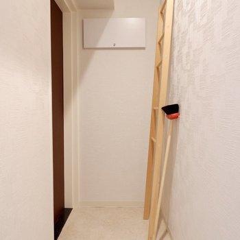 スペースにゆとりがあるので何か日用品を立てかけておくのもよいかもしれません。