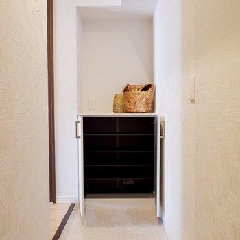 玄関は縦長。居室との境目にシューズボックスがあります。