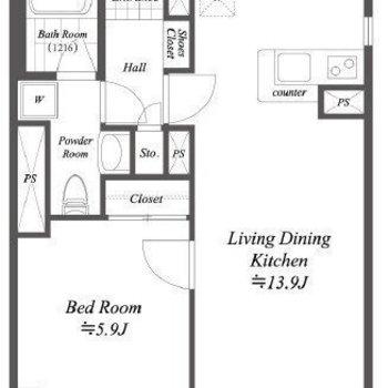 広々としたリビングがある1LDKのお部屋。