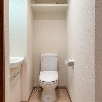 奥に棚付きのトイレがあります。