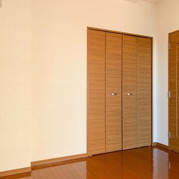 【洋室】収納は扉前にあります。