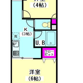 洋室は2箇所に。水回りはお部屋真ん中あたりに位置します。