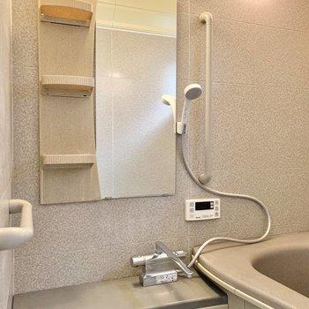 鏡まわりの棚や台もひろびろ。それぞれ違うジャンプーを置くことだってできそうです。